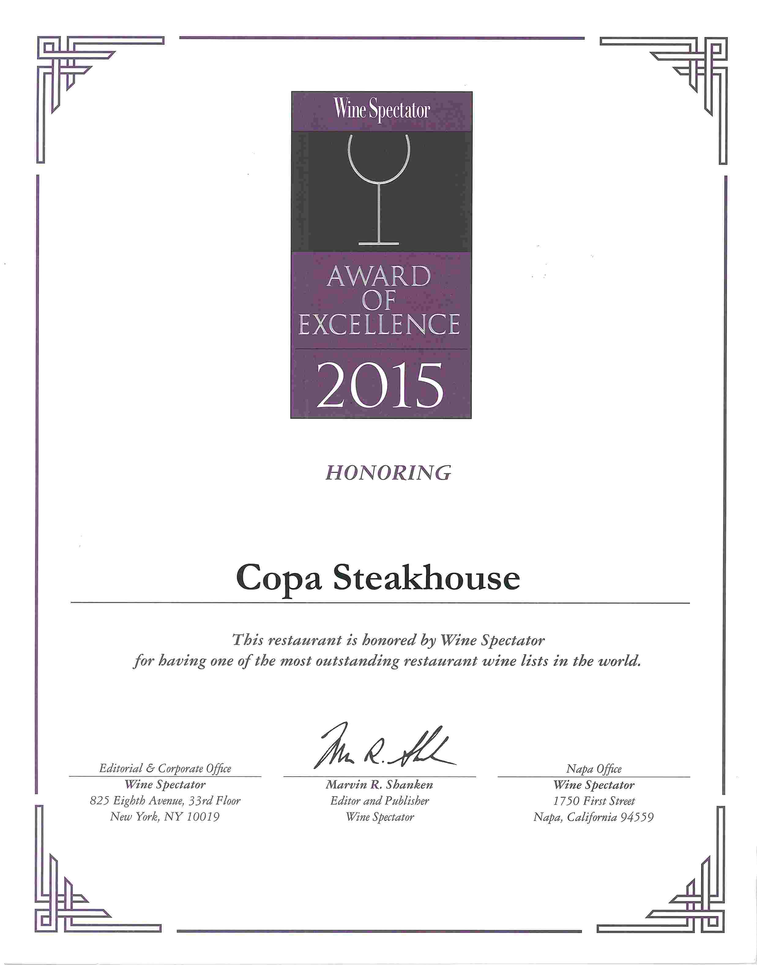Copa Steakhouse - Wine Spectator List Awards 2015